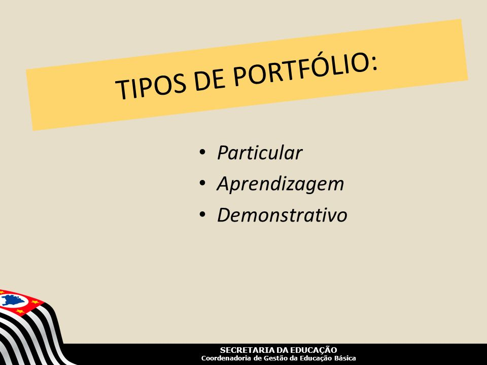 TIPOS DE PORTFÓLIO: Particular Aprendizagem Demonstrativo