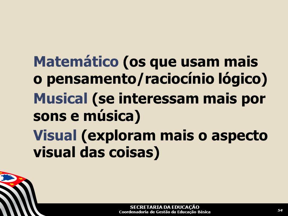 Matemático (os que usam mais o pensamento/raciocínio lógico)