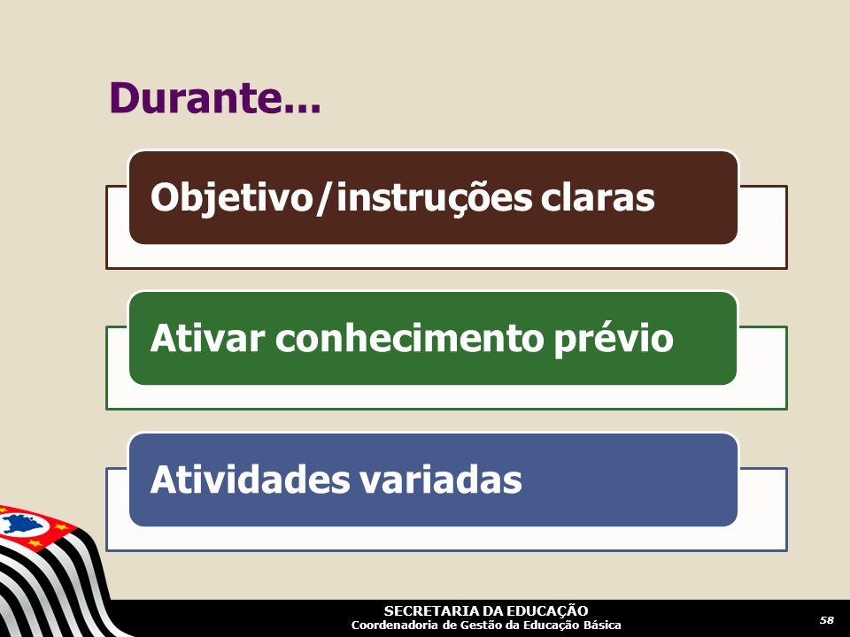 Durante... Objetivo/instruções claras Ativar conhecimento prévio