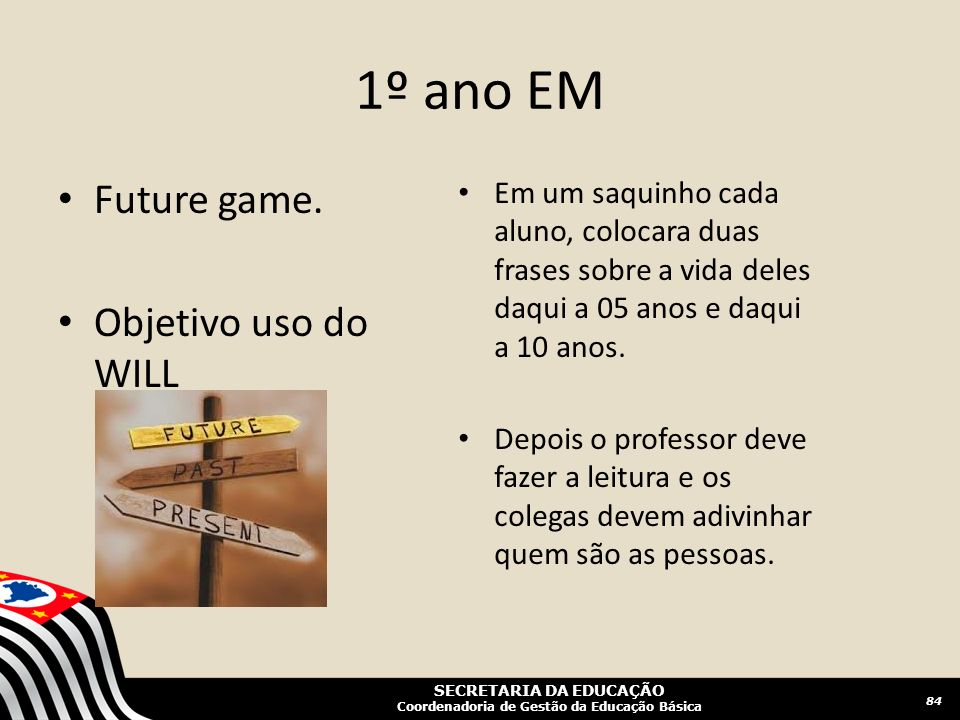 1º ano EM Future game. Objetivo uso do WILL