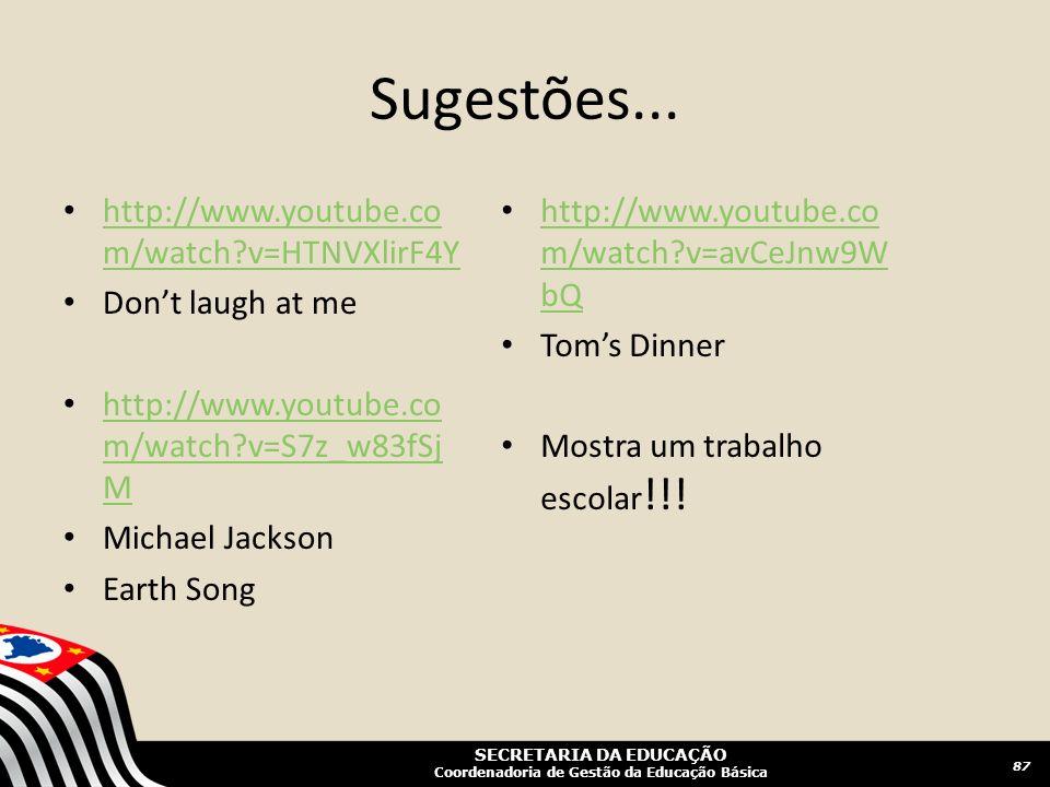 Sugestões... http://www.youtube.com/watch v=HTNVXlirF4Y