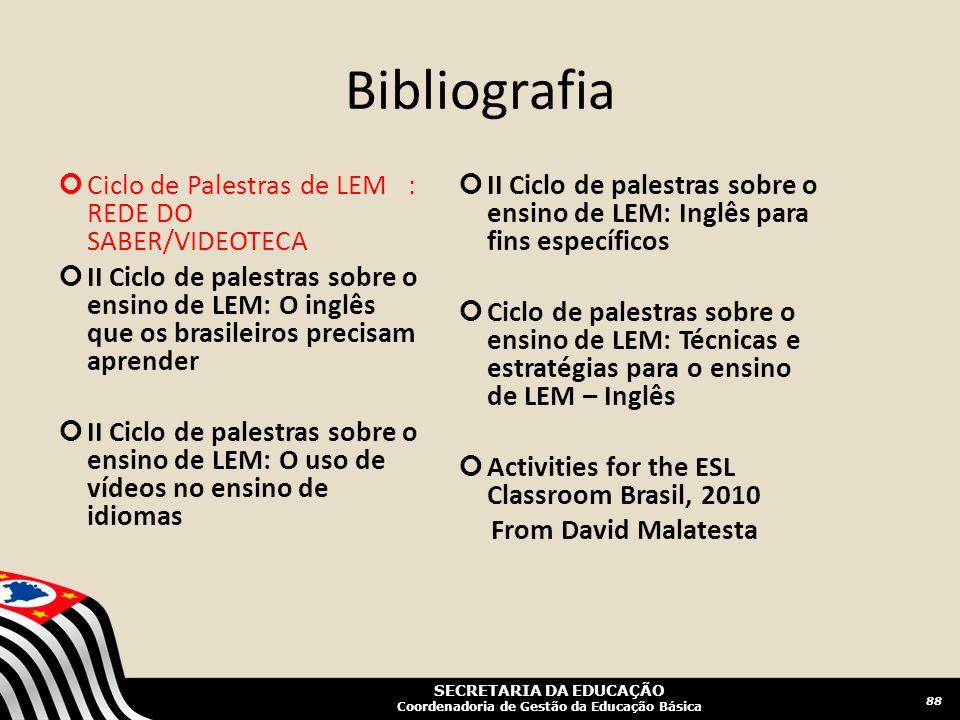 Bibliografia Ciclo de Palestras de LEM : REDE DO SABER/VIDEOTECA