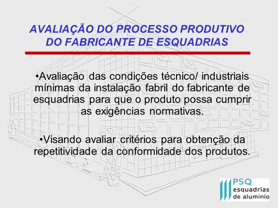 AVALIAÇÃO DO PROCESSO PRODUTIVO DO FABRICANTE DE ESQUADRIAS