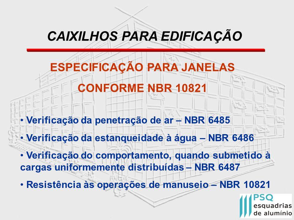 CAIXILHOS PARA EDIFICAÇÃO ESPECIFICAÇÃO PARA JANELAS