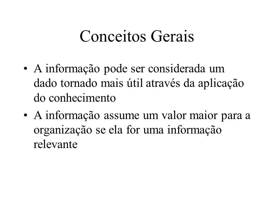 Conceitos Gerais A informação pode ser considerada um dado tornado mais útil através da aplicação do conhecimento.