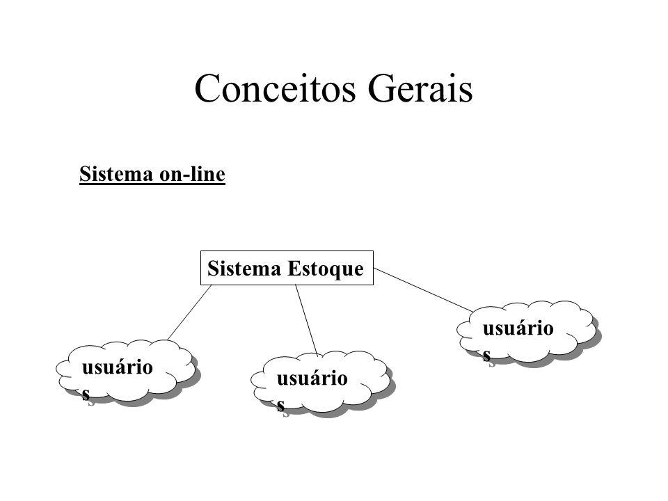 Conceitos Gerais Sistema on-line Sistema Estoque usuários usuários