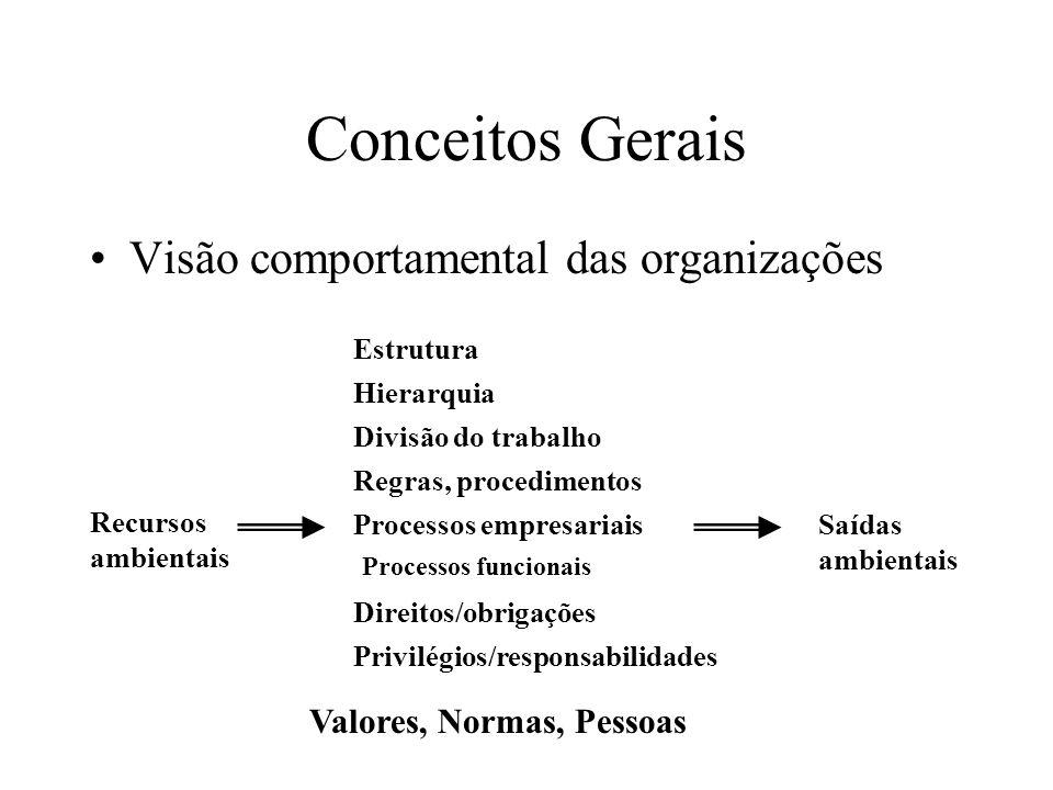 Conceitos Gerais Visão comportamental das organizações