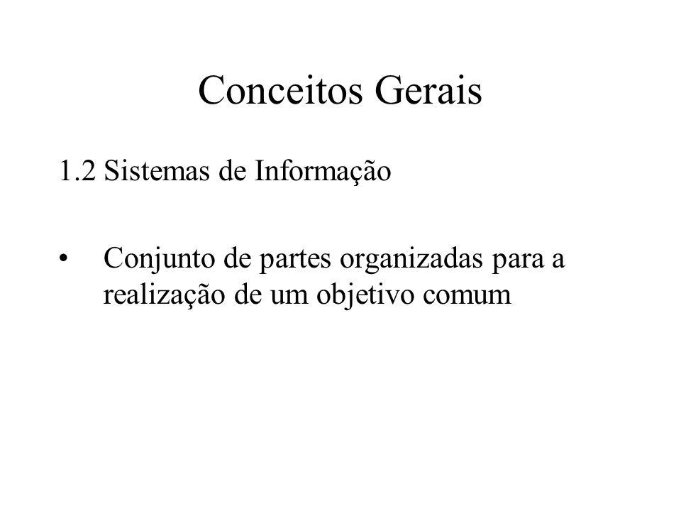 Conceitos Gerais 1.2 Sistemas de Informação