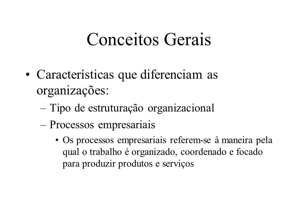 Conceitos Gerais Características que diferenciam as organizações: