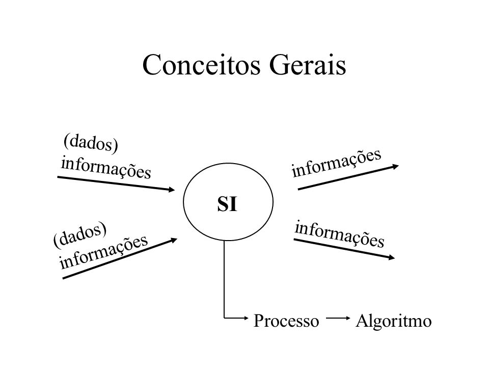 Conceitos Gerais SI (dados) informações informações