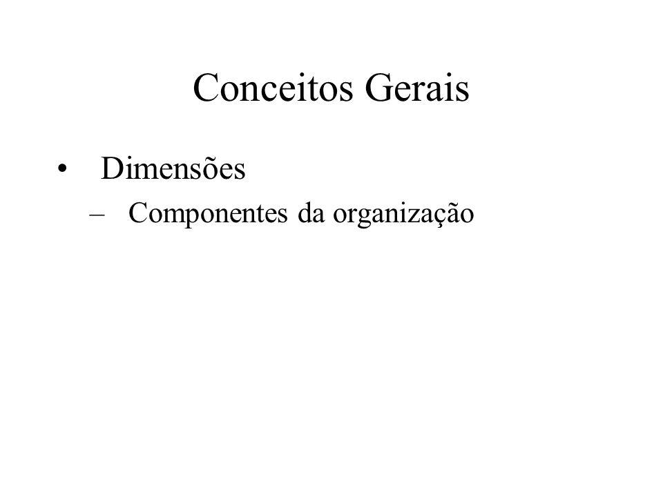 Conceitos Gerais Dimensões Componentes da organização