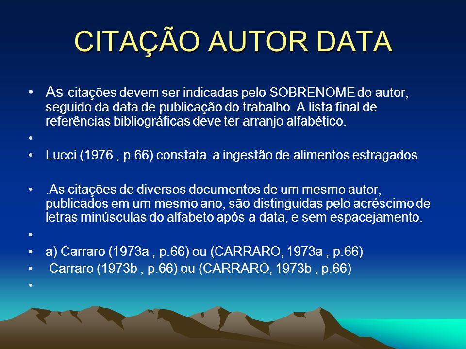 CITAÇÃO AUTOR DATA