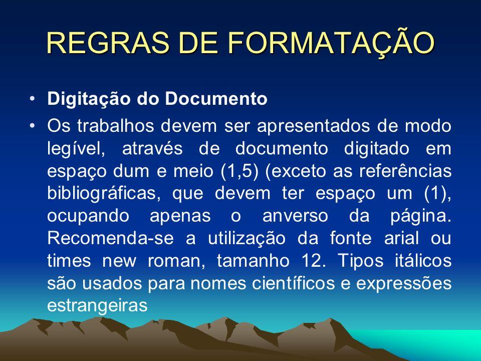 REGRAS DE FORMATAÇÃO Digitação do Documento