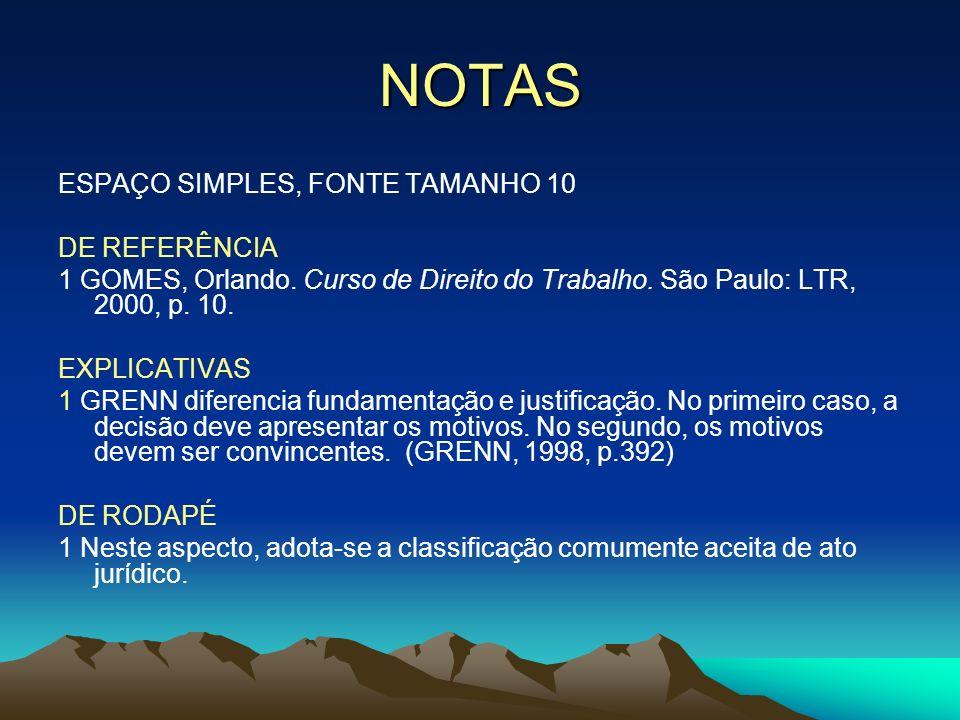 NOTAS ESPAÇO SIMPLES, FONTE TAMANHO 10 DE REFERÊNCIA