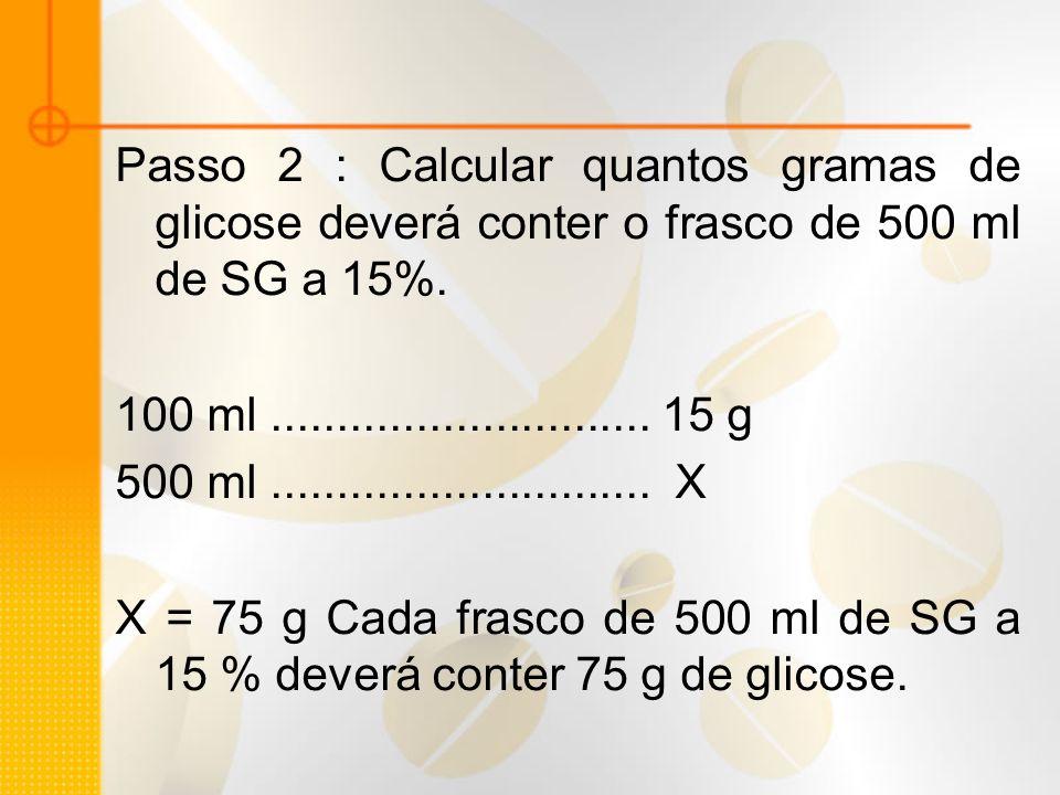 Passo 2 : Calcular quantos gramas de glicose deverá conter o frasco de 500 ml de SG a 15%.