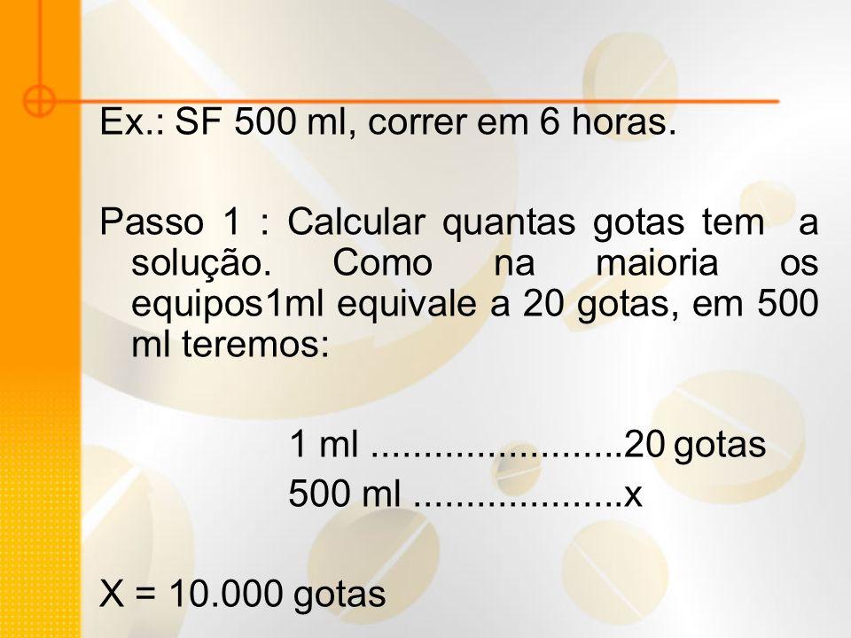 Ex.: SF 500 ml, correr em 6 horas.
