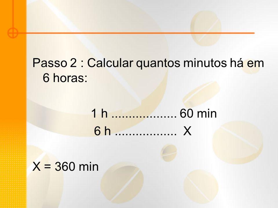 Passo 2 : Calcular quantos minutos há em 6 horas: