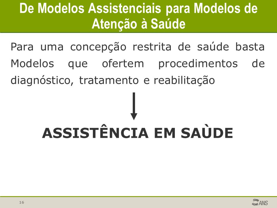 De Modelos Assistenciais para Modelos de Atenção à Saúde