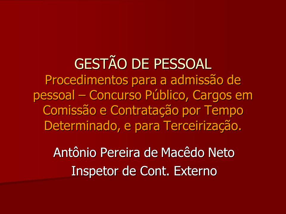 Antônio Pereira de Macêdo Neto Inspetor de Cont. Externo