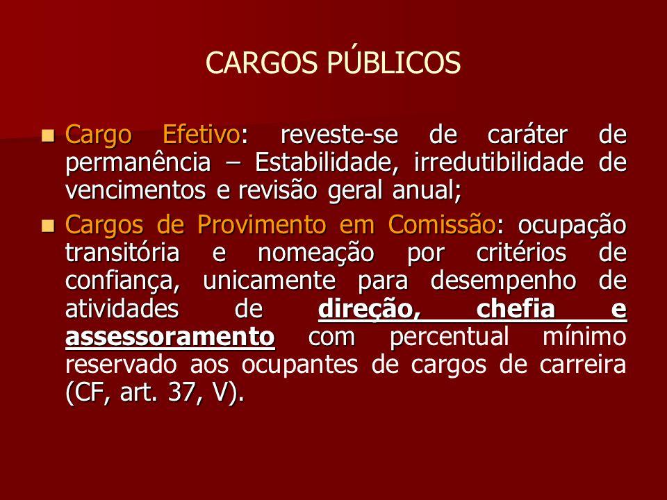 CARGOS PÚBLICOS Cargo Efetivo: reveste-se de caráter de permanência – Estabilidade, irredutibilidade de vencimentos e revisão geral anual;