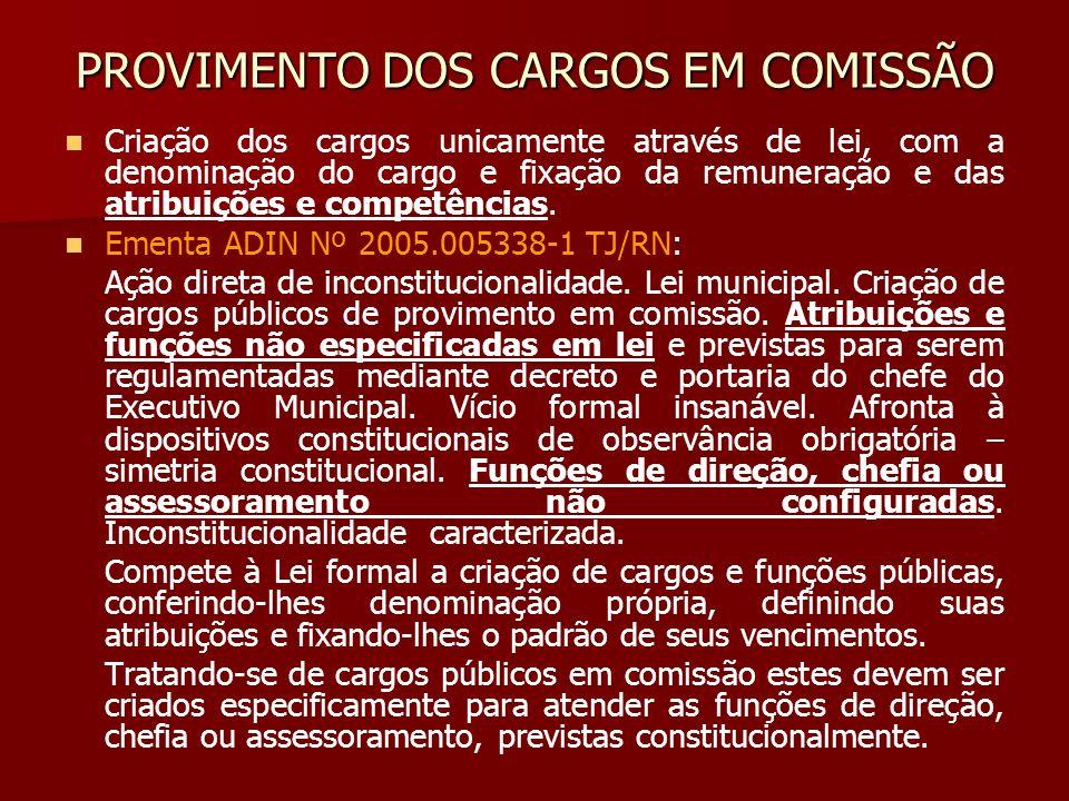 PROVIMENTO DOS CARGOS EM COMISSÃO