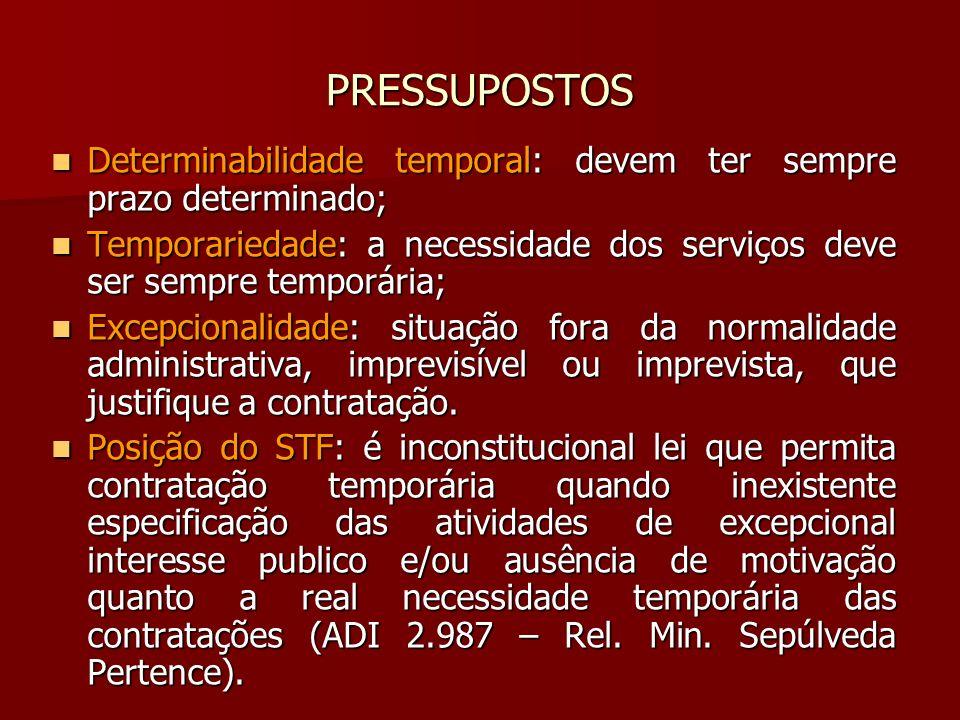 PRESSUPOSTOS Determinabilidade temporal: devem ter sempre prazo determinado; Temporariedade: a necessidade dos serviços deve ser sempre temporária;