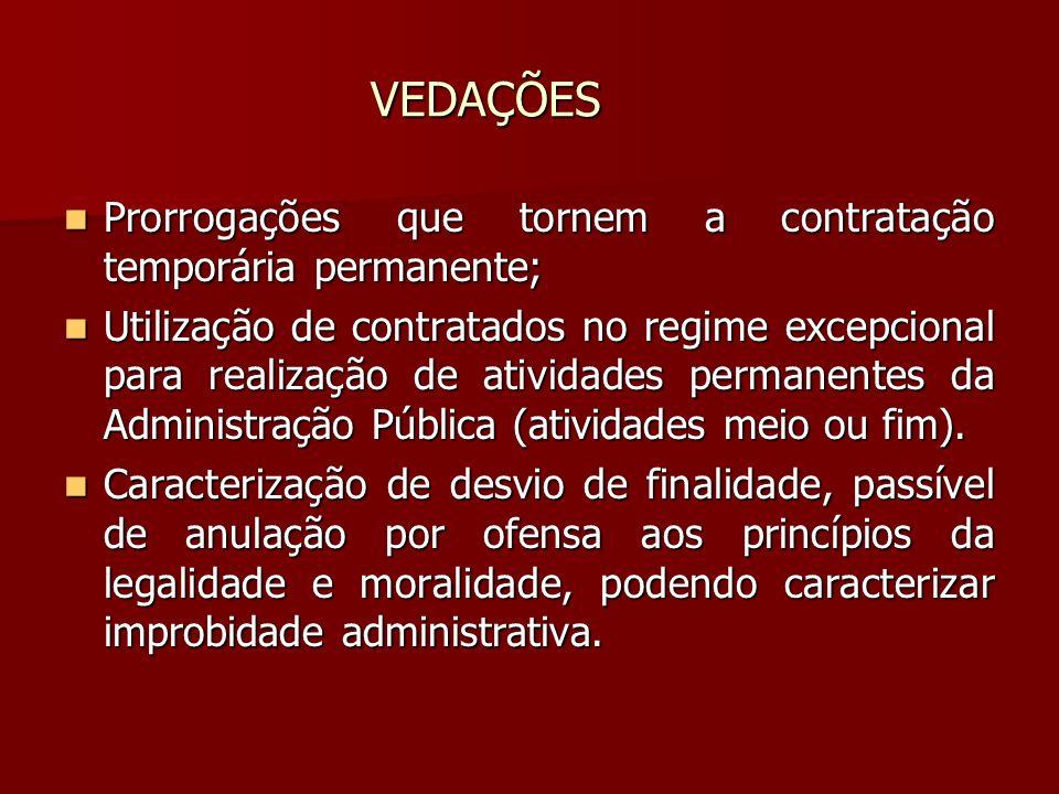 VEDAÇÕES Prorrogações que tornem a contratação temporária permanente;
