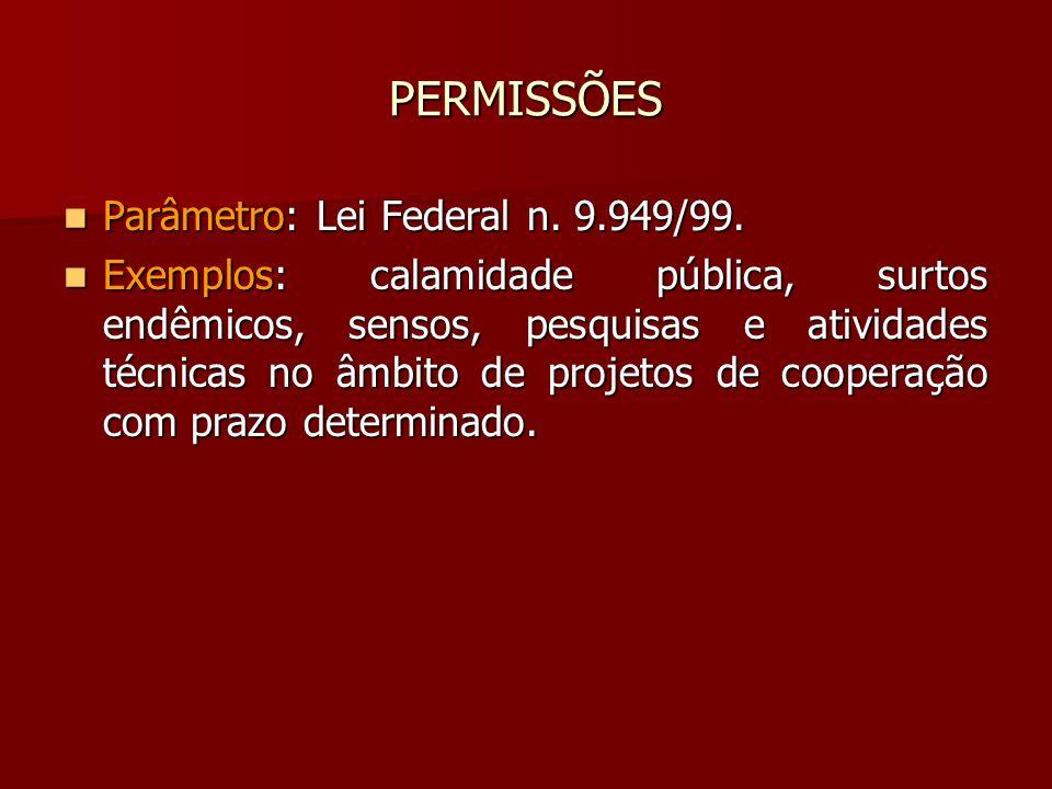 PERMISSÕES Parâmetro: Lei Federal n. 9.949/99.