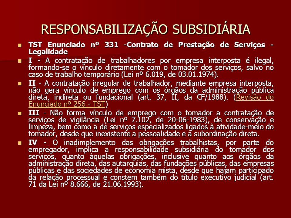 RESPONSABILIZAÇÃO SUBSIDIÁRIA