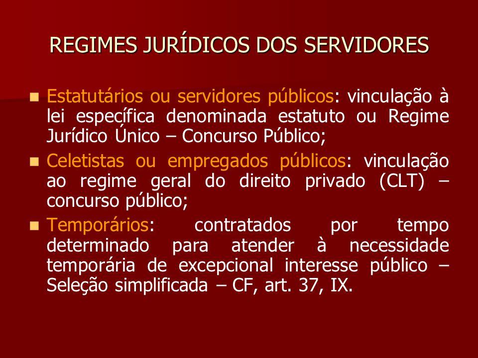 REGIMES JURÍDICOS DOS SERVIDORES