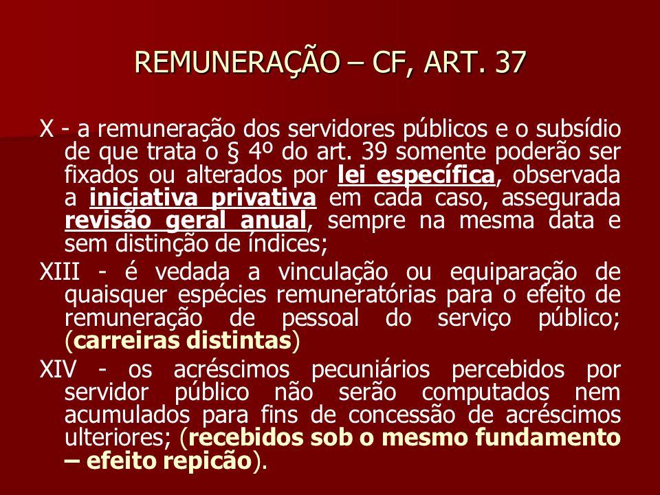 REMUNERAÇÃO – CF, ART. 37