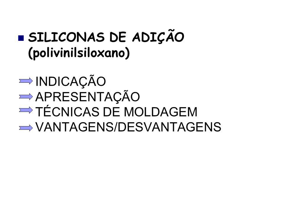 INDICAÇÃO APRESENTAÇÃO TÉCNICAS DE MOLDAGEM VANTAGENS/DESVANTAGENS