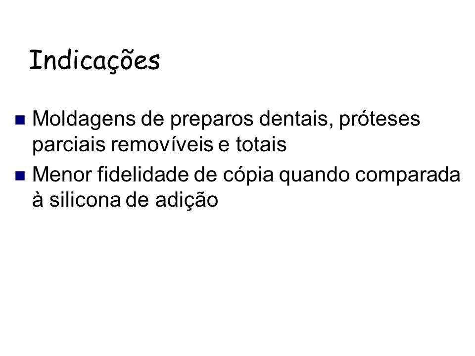Indicações Moldagens de preparos dentais, próteses parciais removíveis e totais.