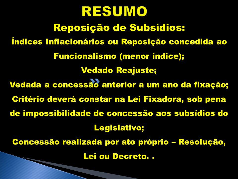 RESUMO Reposição de Subsídios: