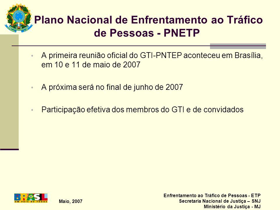 Plano Nacional de Enfrentamento ao Tráfico de Pessoas - PNETP