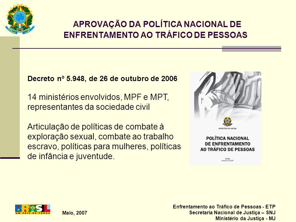 APROVAÇÃO DA POLÍTICA NACIONAL DE ENFRENTAMENTO AO TRÁFICO DE PESSOAS