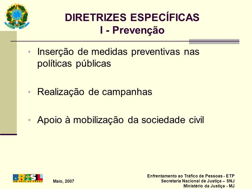 DIRETRIZES ESPECÍFICAS I - Prevenção