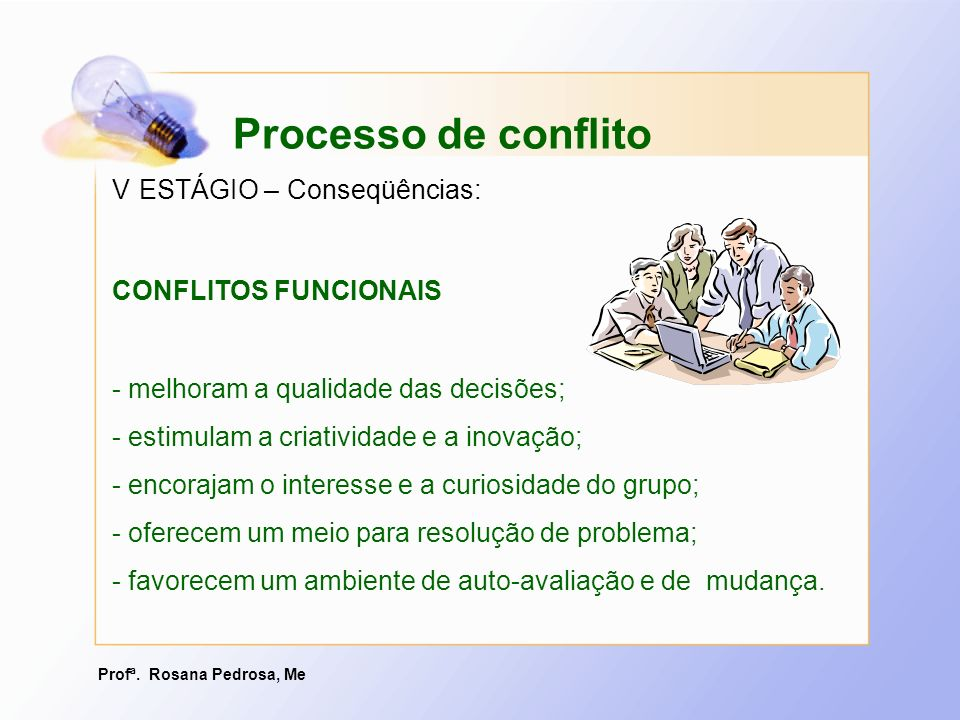 Processo de conflito V ESTÁGIO – Conseqüências: CONFLITOS FUNCIONAIS