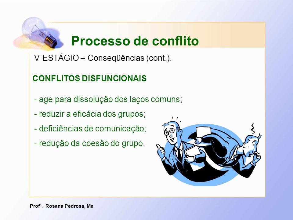 Processo de conflito V ESTÁGIO – Conseqüências (cont.).