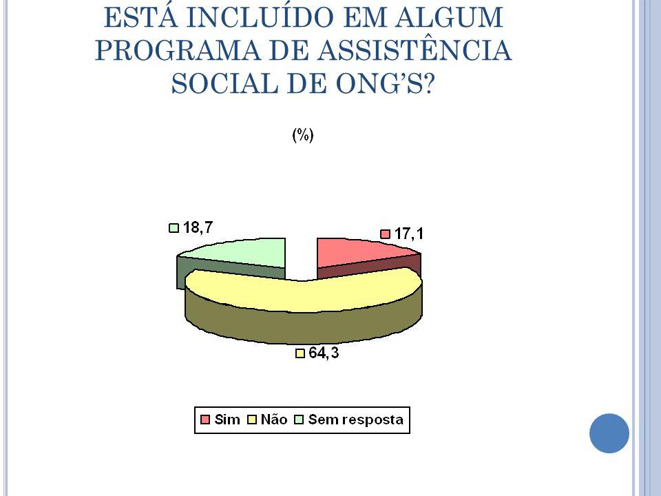 ESTÁ INCLUÍDO EM ALGUM PROGRAMA DE ASSISTÊNCIA SOCIAL DE ONG'S