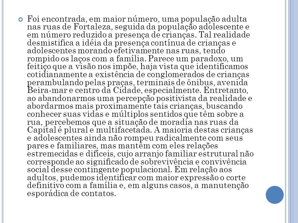 Foi encontrada, em maior número, uma população adulta nas ruas de Fortaleza, seguida da população adolescente e em número reduzido a presença de crianças.