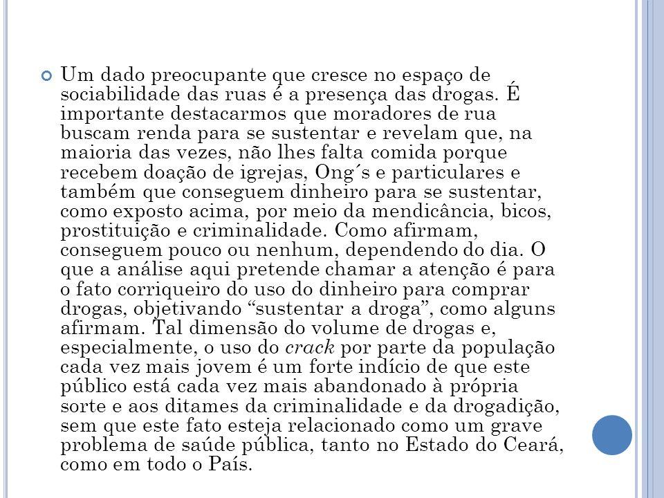 Um dado preocupante que cresce no espaço de sociabilidade das ruas é a presença das drogas.