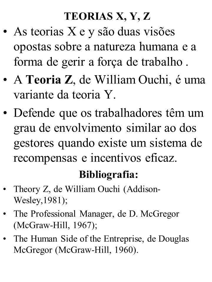 A Teoria Z, de William Ouchi, é uma variante da teoria Y.