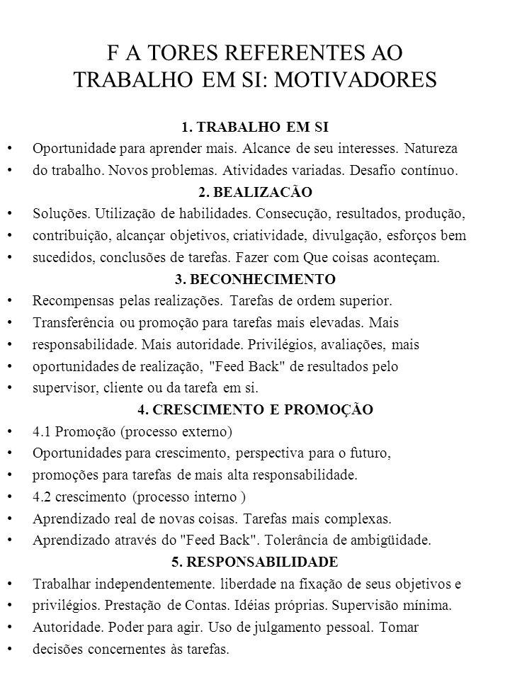 F A TORES REFERENTES AO TRABALHO EM SI: MOTIVADORES