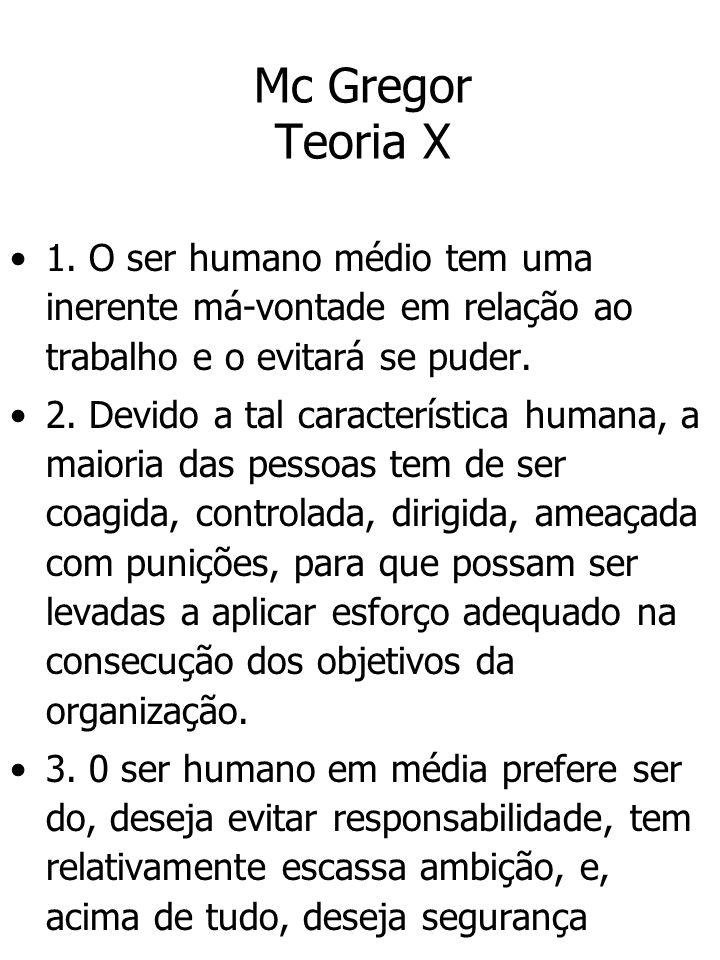 Mc Gregor Teoria X 1. O ser humano médio tem uma inerente má-vontade em relação ao trabalho e o evitará se puder.
