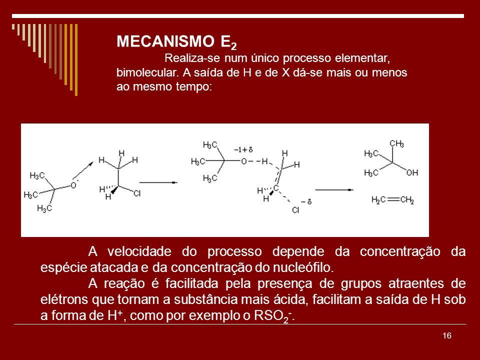 MECANISMO E2 Realiza-se num único processo elementar, bimolecular. A saída de H e de X dá-se mais ou menos ao mesmo tempo: