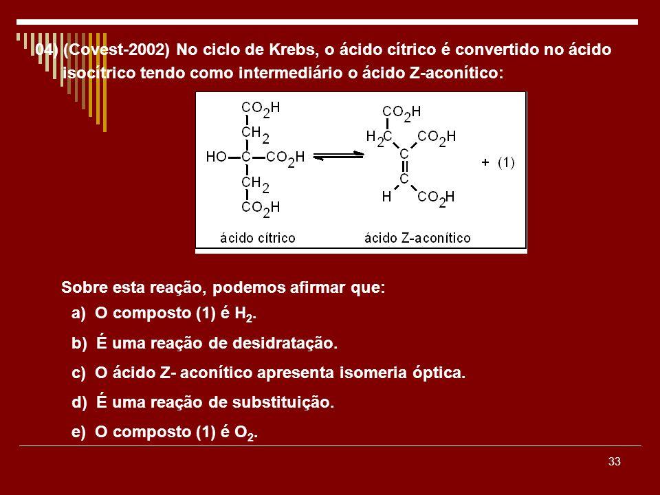 04) (Covest-2002) No ciclo de Krebs, o ácido cítrico é convertido no ácido