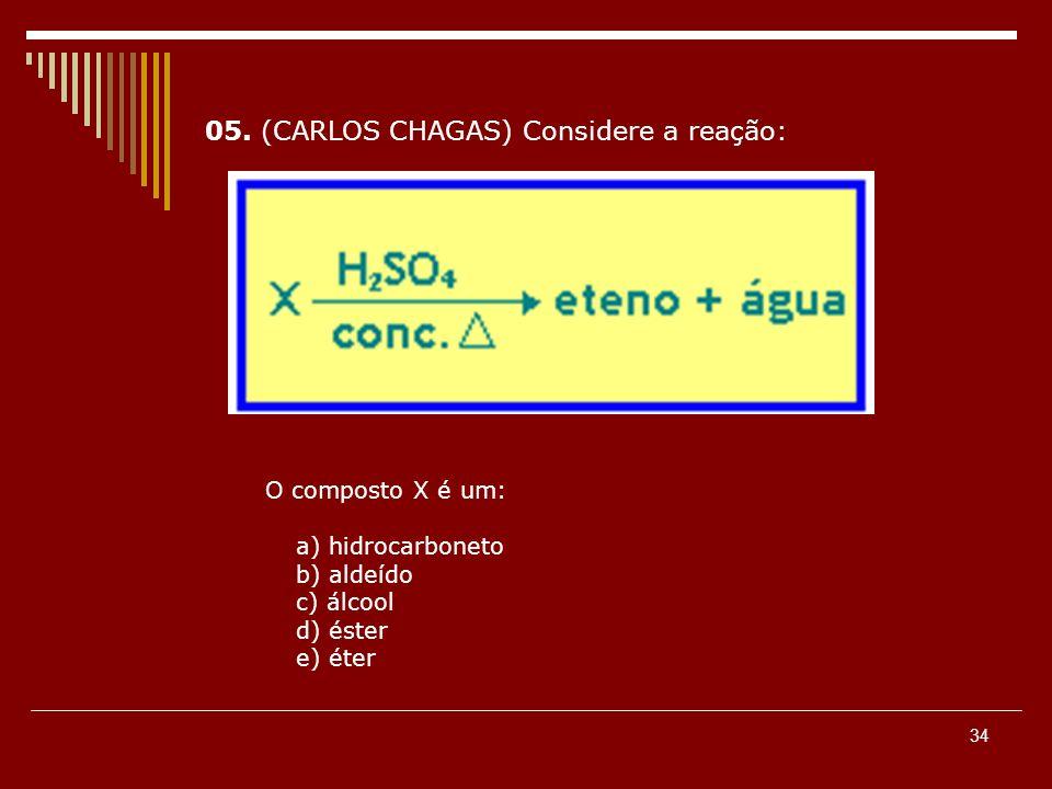 05. (CARLOS CHAGAS) Considere a reação:
