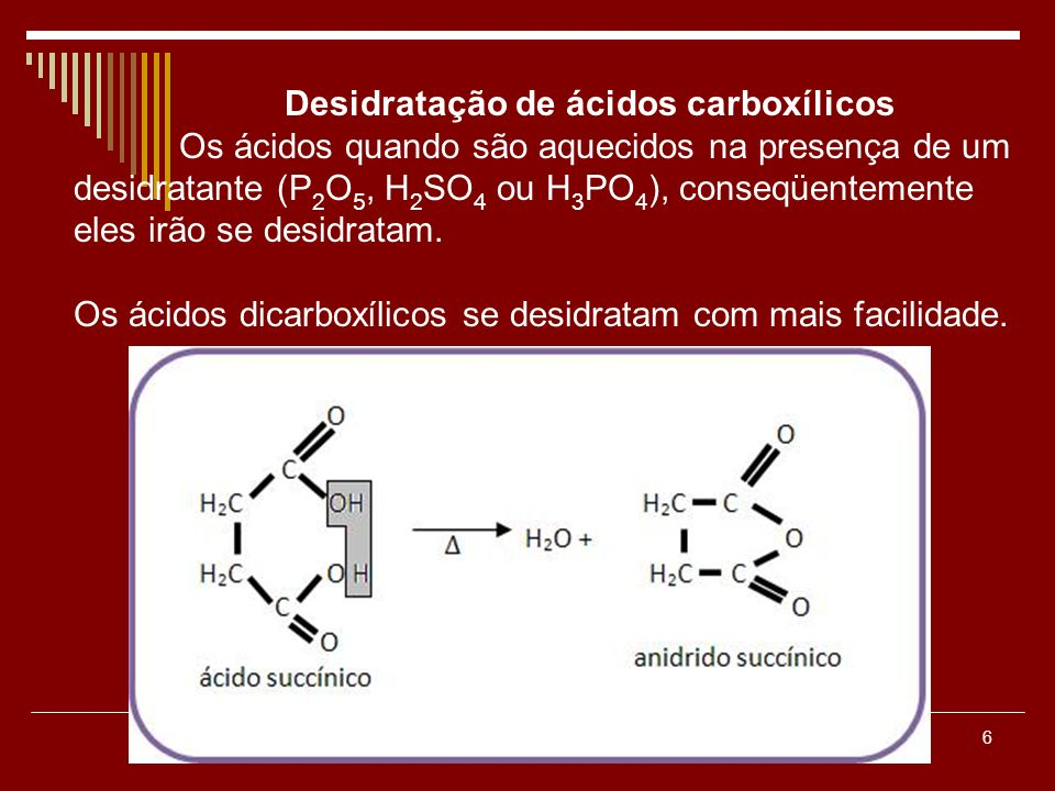 Desidratação de ácidos carboxílicos