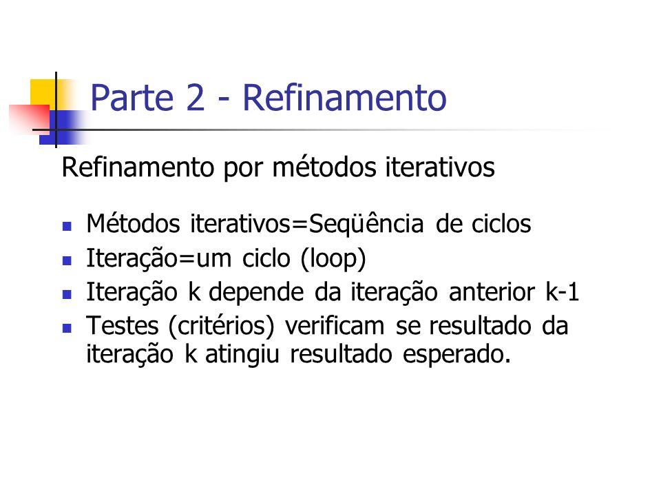 Parte 2 - Refinamento Refinamento por métodos iterativos
